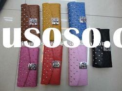 stylish colorful rivet stud embossed PU wallet for women&new arrival wallet& latest designer