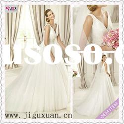 1957-1hs Suitable for spring new style White Tulle and A-Line Design V-back wedding dress