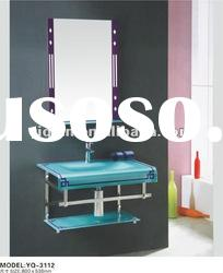 2011 Fashionable Stainless Steel Glass Basin Bathroom Cabinet
