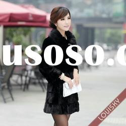 2012Lady's Long mink fur and rex rabbit fur coat Free shipping