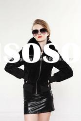 2012 Fashion Clothing Women Leather Coat with Fox Fur Collar #2061-1
