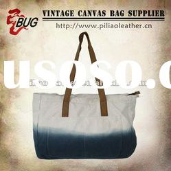 2012 Fashion Special Dyed Cotton Canvas Tote Bag with Leather Trim for Men/Women