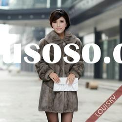 2012 Lady's long style Mink fur coat with stripe Free shipping