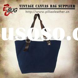 2012 Vintage & Used Fashion Cotton Canvas Tote Bag With Leather For Men/Women