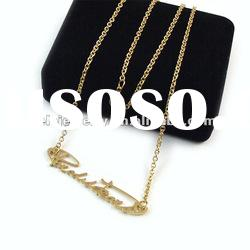 2012 fashion gold plated stainless steel alphabet pendant necklace popular with boys and girls