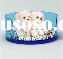 2012 hot sale circle acrylic dog bed with cushion