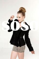 2012 winter Clothes Women Mink Fur Hoodie with pig Leather Coat #2330-2