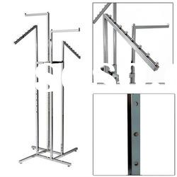 4 Way Adjustable Metal Garment Stand with Straight Arms or Sloped Arms