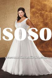 A-Line Square Cathedral Train Organza Satin Wedding Dresses