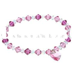 Amazing sparkling flared chic pink crystal love heart dangle fashion stretch bracelet DH220600