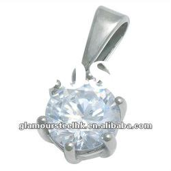 Best selling Modern Solitaire Pendants with CZ accessories stainless steel ladies jewelry