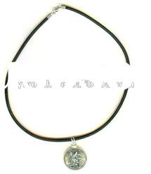Black leather necklace chain with engraved metal charms,fashion leather necklace chain 610001