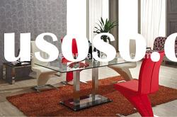 Clear glass dining table-L832
