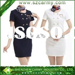 Customized Hotel Summer Navy Working Suit /White Air Hostess Short-Sleeve Suit Set