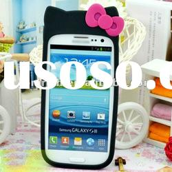 Cute Pink Bow black kitty Cartoon Silicone Soft Case for For Samsung Galaxy S3 SIII i9300