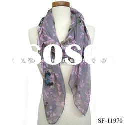 Fashion batterfly print voile scarf