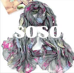 Fashion high-heeled shoes printed cotton jersey scarves