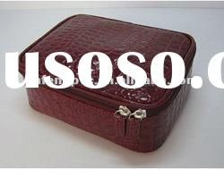 Fashionable and Popular Simulated Crocodile PU Makeup Case in Dark Red Color