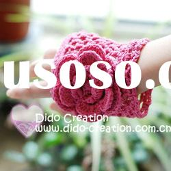 G22A002A Hand crochet handmade knitted Pink Gloves Cotton Flower