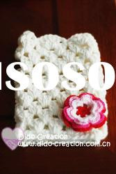 G22A003A Hand crochet handmade knitted Pink Gloves Cotton Flower