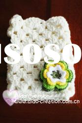 G22A003B Hand crochet handmade knitted Pink Gloves Cotton Flower