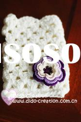 G22A003E Hand crochet handmade knitted Pink Gloves Cotton Flower