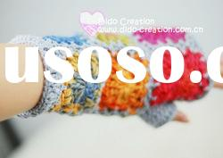 G22A005A Hand crochet handmade knitted Pink Gloves Cotton Flower