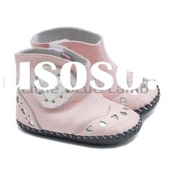 Heart design girl style pink color genuine leather Soft Sole Baby boots LBL-BB27009PK