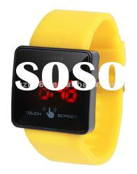 LED mirror touch screen watch colorful new slicone watches