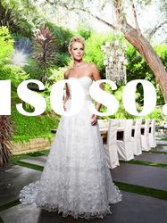 MW0274 Sweetheart Neckband Pleated Sash Lace Appliques New Style Wedding Dress 2012