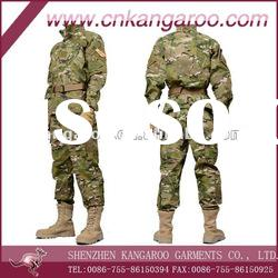 Men's 65% polyester 35% cotton woven Olive Camouflage military uniform
