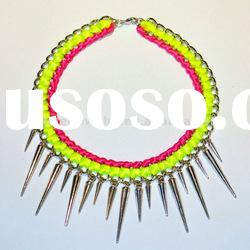 Neon Yellow & Hot Pink Wrapped Ribbon Spikes Chain Necklace