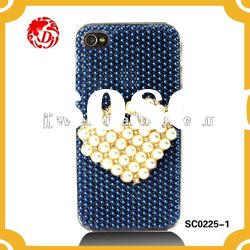 New Copy pearl heart design cell phone case with full ROUND tidy pearl for iPHONE4