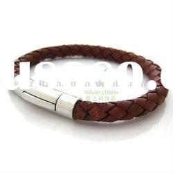 New fashion braided leather bracelet brown with Stainless steel buckle PI0600-2