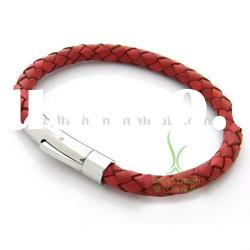 New fashion braided leather bracelet with Stainless steel buckle PI0600