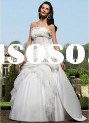 Newest strapless stransparent ball gown organza bridal gown