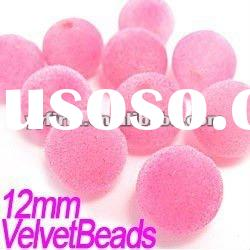Pink color ! 12mm Acrylic Loose Velvet Beads for Earring&Bracelet Accessory!