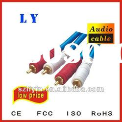 RCA cable with 100% pure gold plated,audio cable