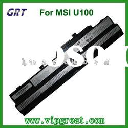 Rechargeable laptop battery for MSI U100 6cells 100%compatible battery