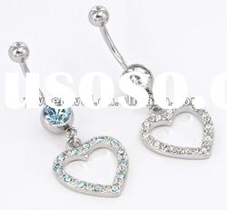Single Gem Navel belly button ring with heart pendant body jewelry