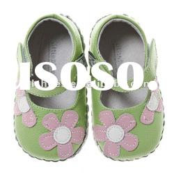 Super girls' daisy flower soft soled leather baby shoes BB-A1101-GR