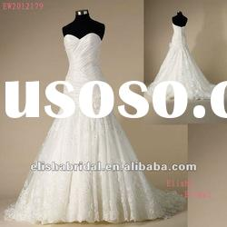Sweetheart A-line asymmetrical Ruched Dropped Bodice Tulle Lace Wedding Suzhou Dress