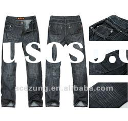 Top brand whisker washed effect jeans full length pants for men---high quality