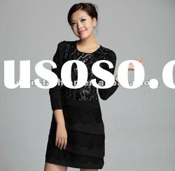 Woman Black Long Sleeve Sequin And Lace Prom Dress 06121032