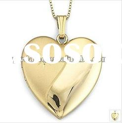 beautiful heart shape gold plated alloy pendant necklace 121012
