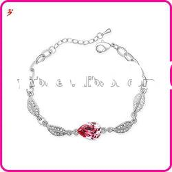 beautiful silver crystal rain drop with leaves bracelet for valentine's day gift(B100938)