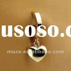 belly button ring with dangling dazzling plated heart signs
