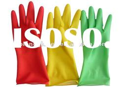 colorful rubber household gloves