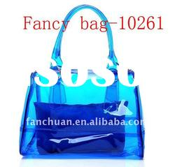 fashion clear vinyl pvc zipper bags with handles
