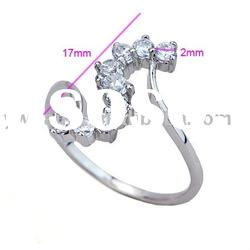 fashion copper plating platinum ring with snake shape zircon 190585